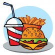 Cheeseburger With Drink And Fries — Stock Photo