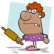 Pissed Housewife Holding A Rolling Pin — Stock Photo
