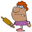 Mad Housewife Holding A Rolling Pin — Photo