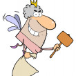 Stock Photo: Tooth Fairy Flying With A Mallet And Bag