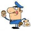 Happy Police Officer Eating Donut — Stock Photo #2699738