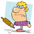 Angry Wife With A Rolling Pin,background - Stock Photo