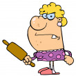 Angry Wife With A Rolling Pin — Stock Photo