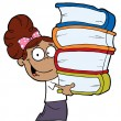 Smart Latina School Girl Carrying A Stack Of Books — Stock Photo