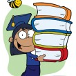 Hispanic Graduate School Girl Carrying A Stack Of Books — Stock Photo