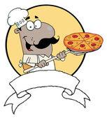 Cartoon trots op afrikaanse amerikaanse chef-kok een pizza pepperoni invoegen — Stockfoto
