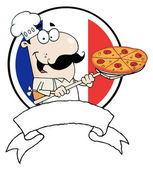 Proud Chef Inserting A Pepperoni Pizza In Front Of Flag Of France — Stock Photo