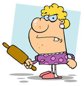 Angry Wife With A Rolling Pin,background — Stock Photo