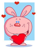 Romantic Pink Rabbit With Heart — Stock Photo