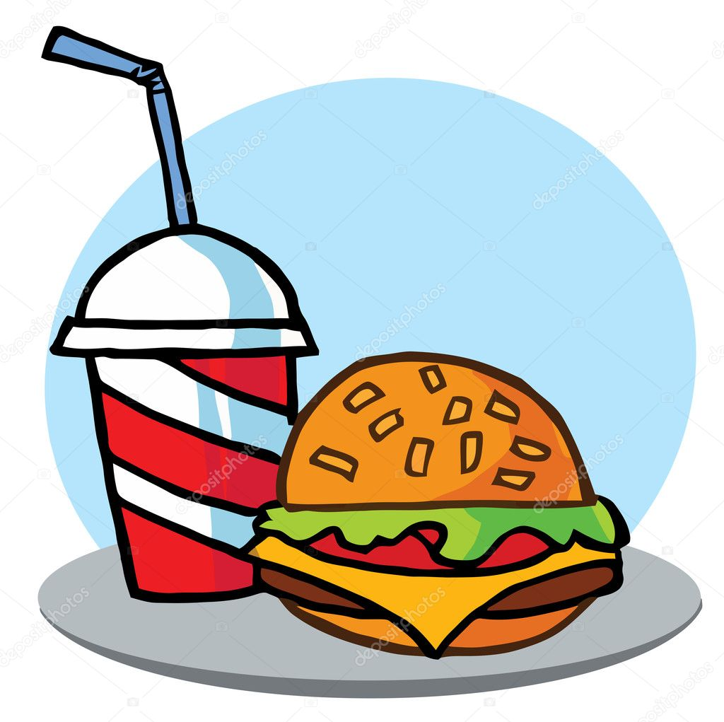 Cheeseburger Served With Cola — Stock Photo #2699685