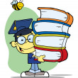 Graduation Asian Boy With Books In Their Hands — Stock Photo #2700043