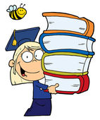 Bee Over A Blond Graduate School Girl — Stock Photo