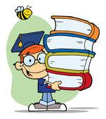 自分たちの手で蜂と卒業少年の上の本します。 — ストック写真