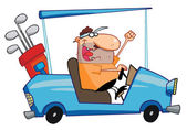 Happy Golfer Drives Golf Cart — Stock Photo