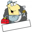 Stock Photo: Cartoon Logo Mascot-AsiMechanic Man