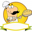 Cartoon Logo Mascot-Bread Baker Man — ストック写真
