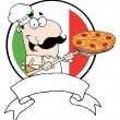 Cartoon Proud Chef Inserting A Pepperoni Pizza - Stock Photo