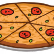 Royalty-Free Stock Photo: Sliced Pepperoni Pizza Pie On A Tray