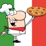 Happy Caucasian Chef Presenting His Pizz — Stock Photo #2769231