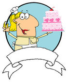 Cartoon Logo Mascot-Cake Baker Woman — Stock Photo