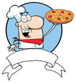 Cartoon Proud Chef Holds Up Pizza — Stock Photo
