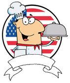 Chef maschile dei cartoni animati che servono cibo — Foto Stock