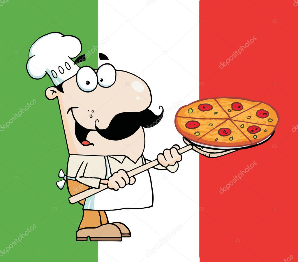 Happy Caucasian Chef Carrying A Pizza Pie Over A Flag — Stock Photo #2769215