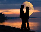 Couple and Moon — Stock Photo