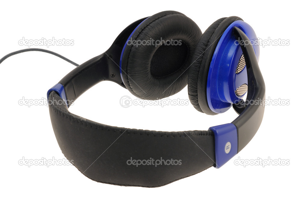 Blue headphones with cable isolated  Stock Photo #3839445