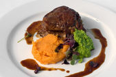 Sirloin Steak with Sweet Potato Mash — Stock Photo