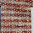 Blue, red and white brick wall — Stock Photo