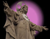 Statue of Christ with fake aureole — Stock Photo