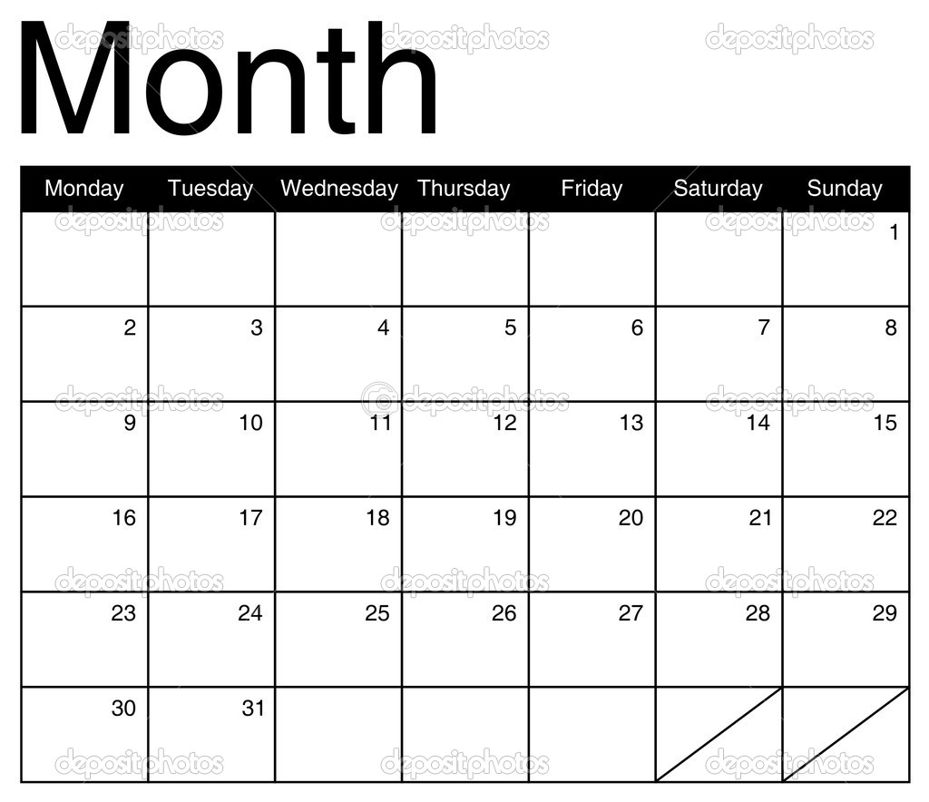 Calendar Month Illustration : Basis for a monthly calendar vector — stock
