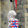 Stone lion holding escutcheon bruges — Stock Photo