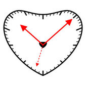 Heart shaped clock — Stock Vector