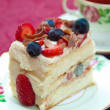 Berry Sponge Cake with Selective Focus — Stock Photo