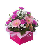 Pink Boxed Flower Arangement — Stock Photo