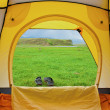 Kind from tent — Stockfoto