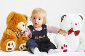 Girl and bears — Stock Photo