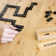 Playing domino game — Stock Photo