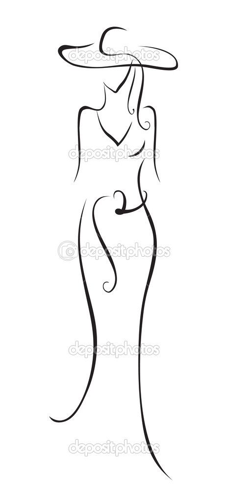 The stylized figure of the woman in a hat  Stock Vector #2852905