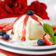 Dumplings with strawberry - knoedel - Foto Stock