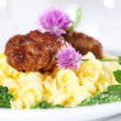 Past with meatball and spinach — Stock Photo