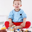 Lovely boy playing with blocks — Stock Photo #3218489