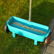 Stock Photo: Gardening - fertilizing lawn