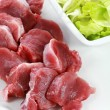 Raw pork meat with iceberg lettuce — Stock Photo #3398043