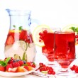Refreshing summer ice tea with fresh fruits - Stock Photo