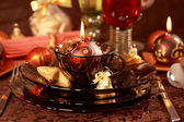 Luxury place setting for Christmas — Stok fotoğraf