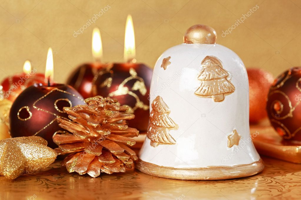 Christmas still life with candles and cookies in brown and golden tone — Stock Photo #3669264