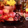 Place setting for Thanksgiving - Stock Photo
